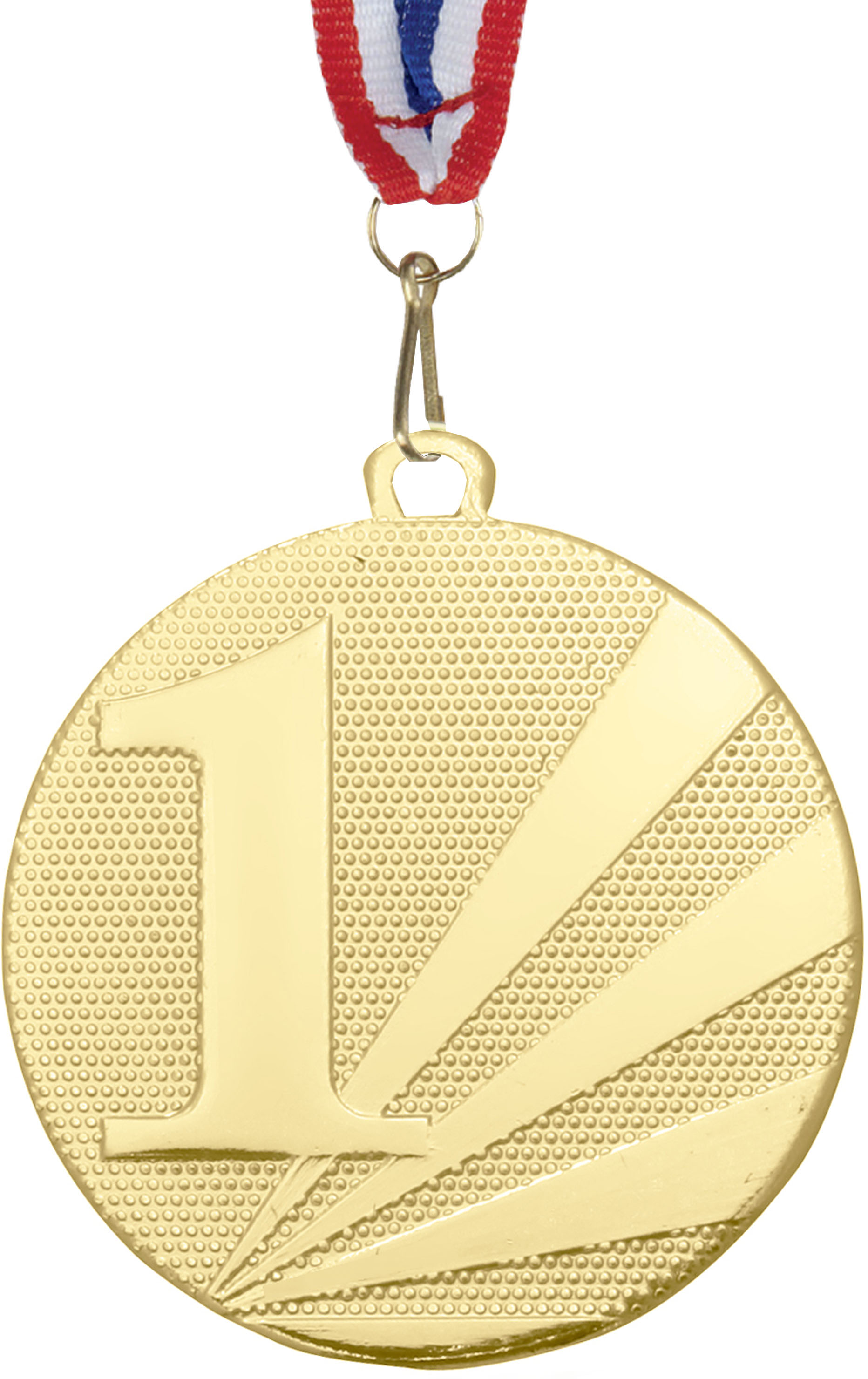 """1st Place Medal Gold With Red, White & Blue Medal Ribbon 50mm (2"""")"""