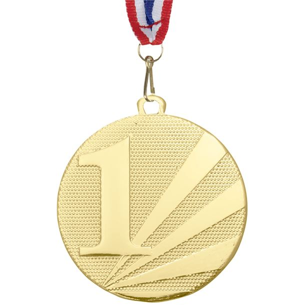 """1st Place Medal Gold With Medal Ribbon 50mm (2"""")"""