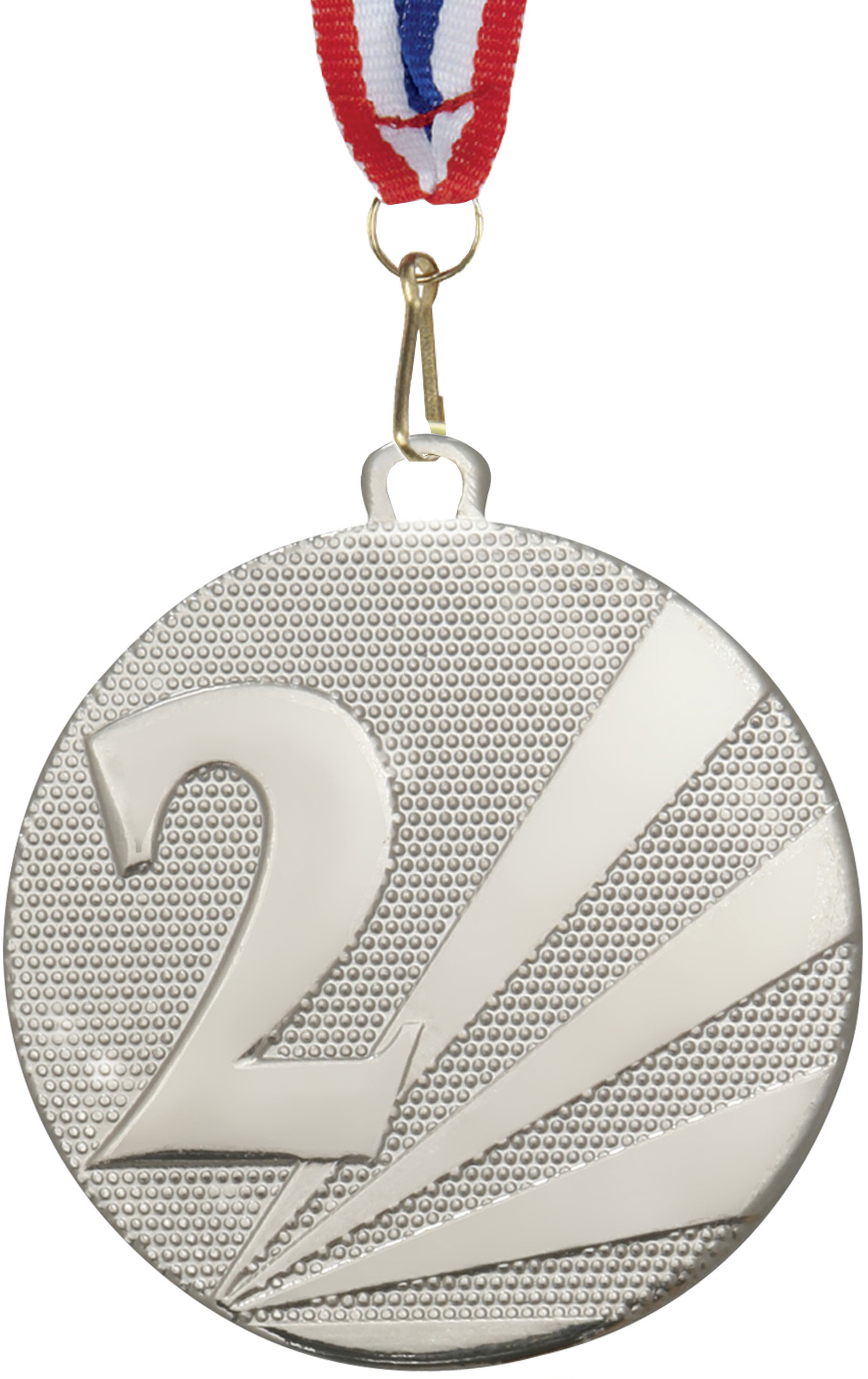 """2nd Place Medal Silver With Red, White & Blue Medal Ribbon 50mm (2"""")"""