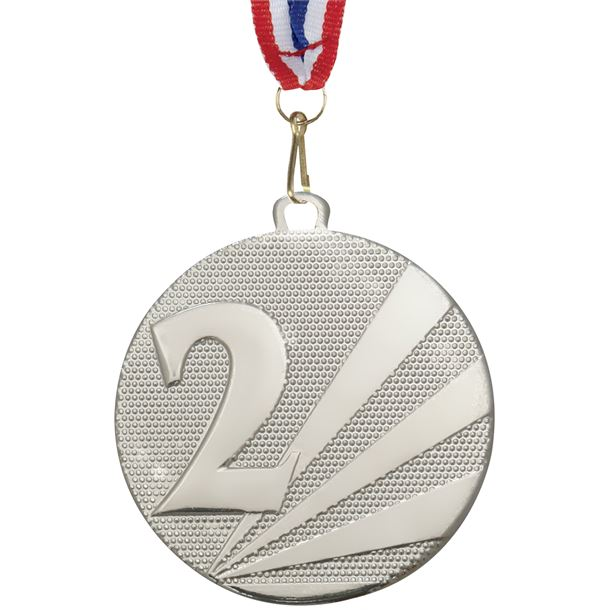 """2nd Place Medal Silver With Medal Ribbon 50mm (2"""")"""