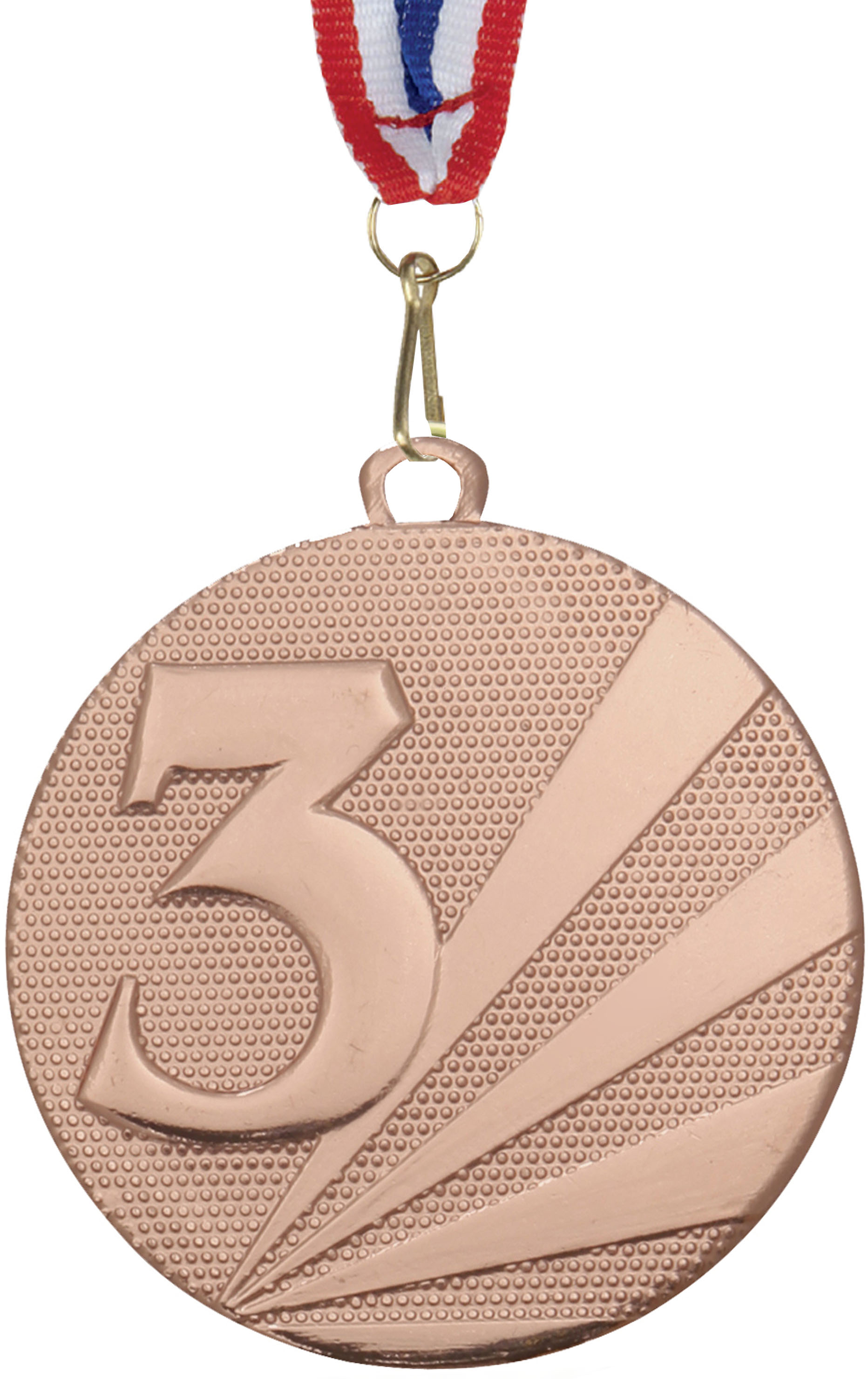 """3rd Place Medal Bronze With Red, White & Blue Medal Ribbon 50mm (2"""")"""