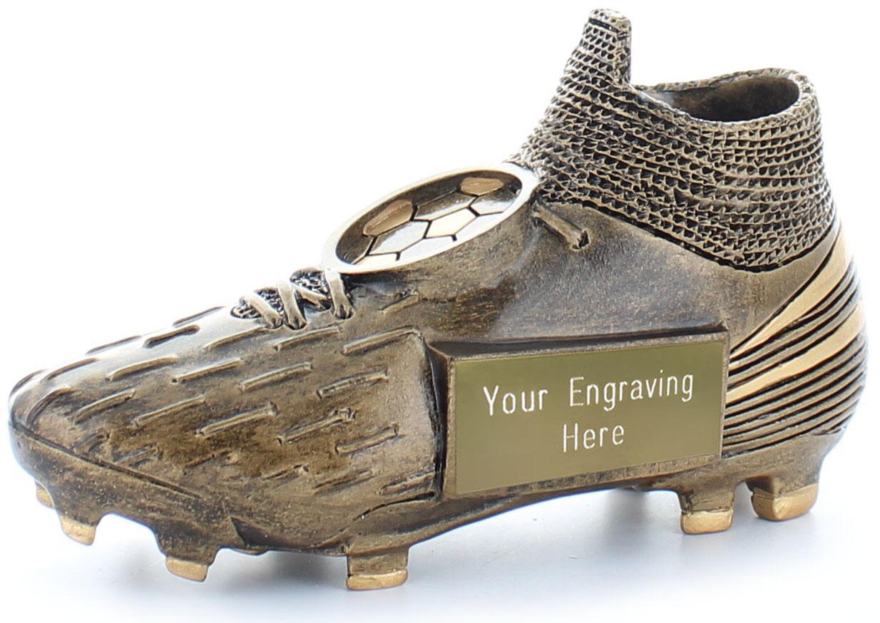 "Millennium Football Boot Trophy Antique Gold 13cm (5"")"