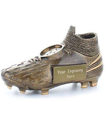 "Millennium Football Boot Trophy Antique Gold 13cm (5"")"