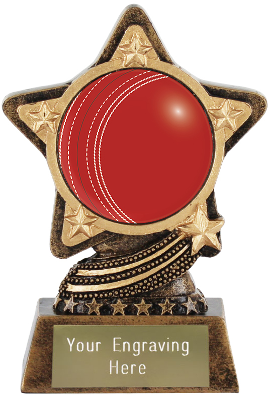 """Cricket Ball Trophy by Infinity Stars 10cm (4"""")"""