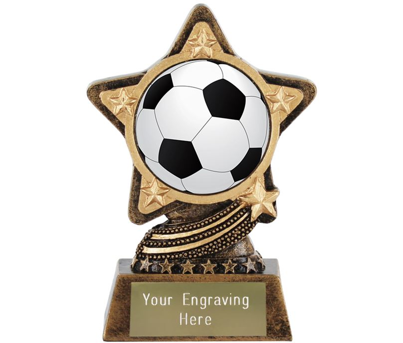 "Centre Football Trophy by Infinity Stars 10cm (4"")"