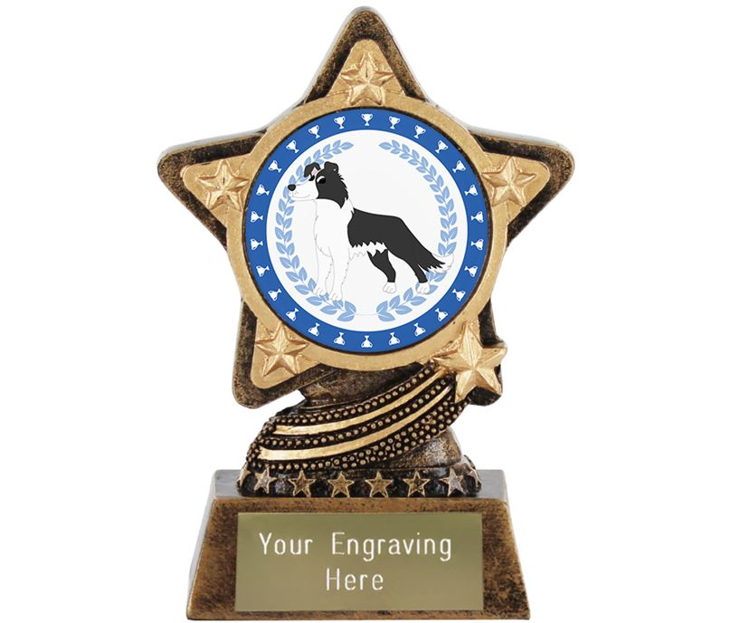 """Border Collie Dog Trophy by Infinity Stars 10cm (4"""")"""