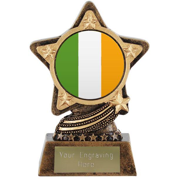 "Irish Flag Trophy by Infinity Stars 10cm (4"")"