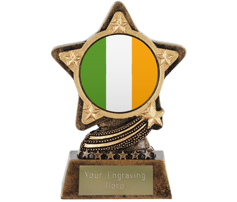 "Irish Flag Trophy by Infinity Stars 10cm (4"")"