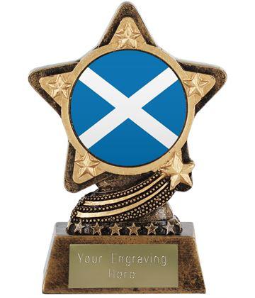 """Scottish Flag Trophy by Infinity Stars 10cm (4"""")"""