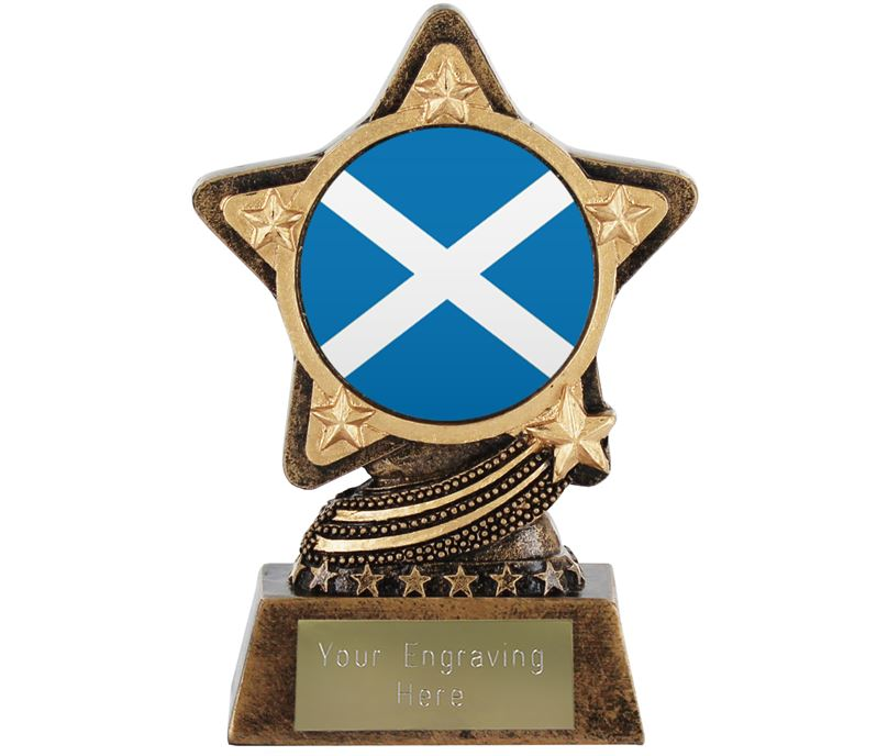 "Scottish Flag Trophy by Infinity Stars 10cm (4"")"