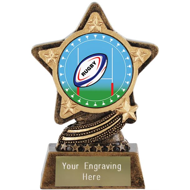 """Rugby Trophy Centre by Infinity Stars 10cm (4"""")"""