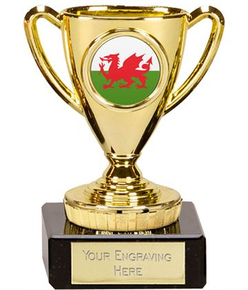 "Welsh Trophy Mini Cup Gold 10cm (4"")"