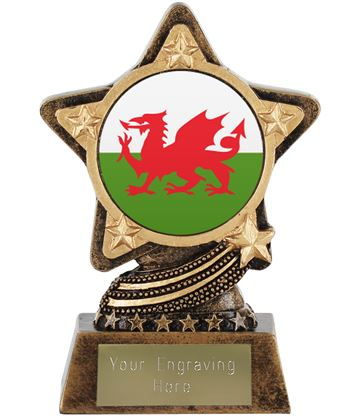 """Welsh Flag Trophy by Infinity Stars 10cm (4"""")"""