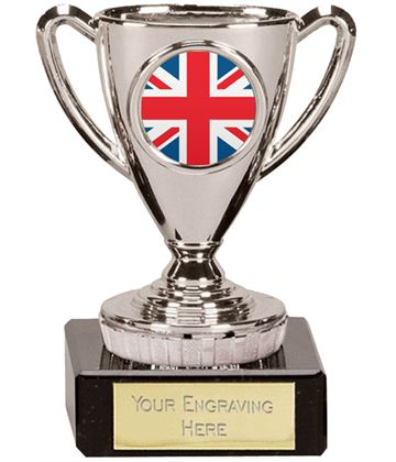 "Union Jack Flag Trophy Mini Cup Silver 10cm (4"")"