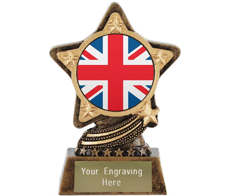 "Union Jack Flag Trophy by Infinity Stars 10cm (4"")"