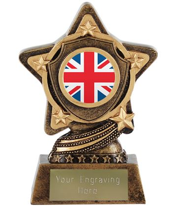 "Union Jack Flag Trophy Centre by Infinity Stars 10cm (4"")"
