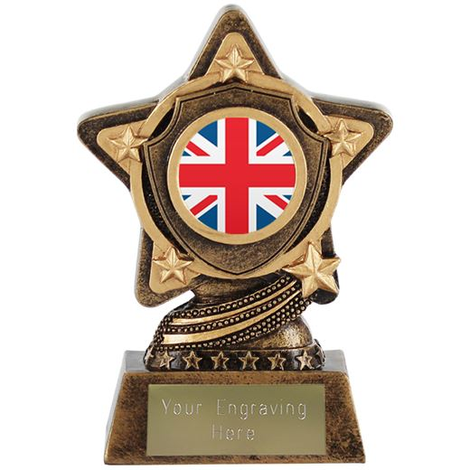 """Union Jack Flag Trophy Centre by Infinity Stars 10cm (4"""")"""