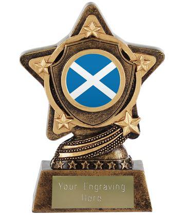 "Scottish Flag Trophy Centre by Infinity Stars 10cm (4"")"