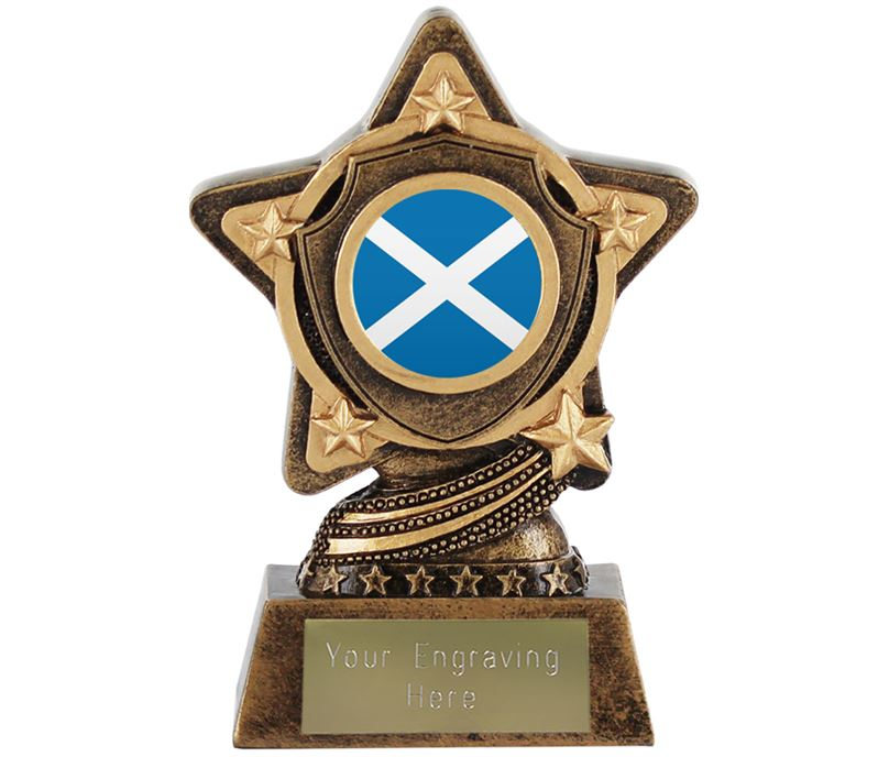 "Scottish Flag Trophy Centre by Infinity Stars 10cm (4"")"