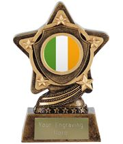 "Irish Flag Trophy Centre by Infinity Stars 10cm (4"")"