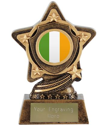 "Irish Flag Trophy Centre by Infinity Stars 10cm (4"")"