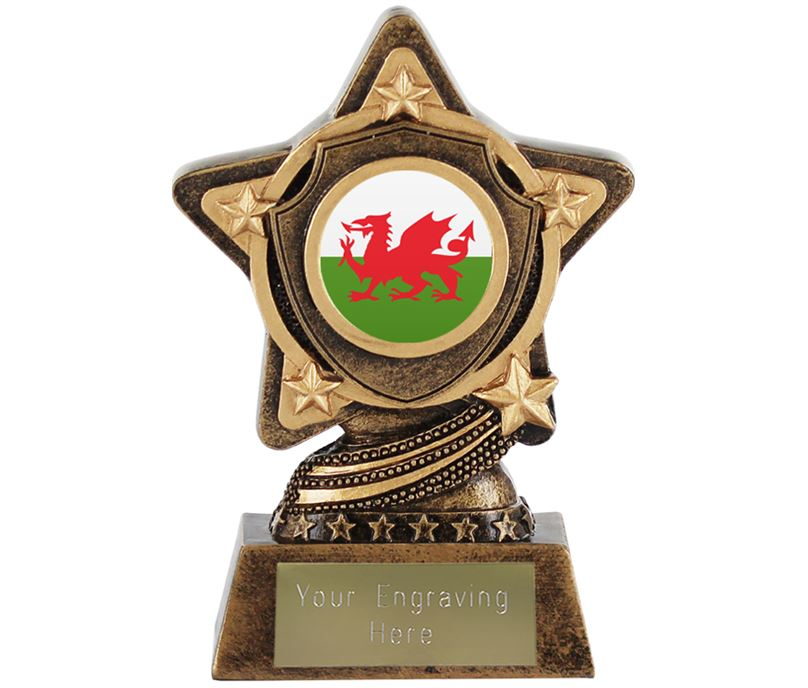 """Welsh Flag Trophy Centre by Infinity Stars 10cm (4"""")"""