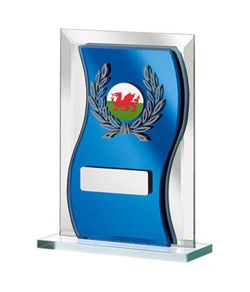 "Welsh Flag Blue Mirrored Glass Plaque Award 12.5cm (5"")"