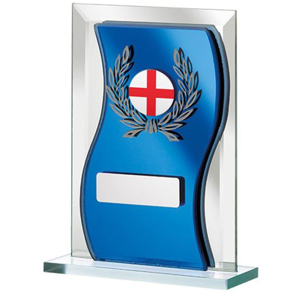 "English Flag Blue Mirrored Glass Plaque Award 12.5cm (5"")"