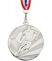 """Football Medal Silver With Medal Ribbon 50mm (2"""")"""