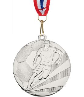 "Football Medal Silver With Medal Ribbon 50mm (2"")"