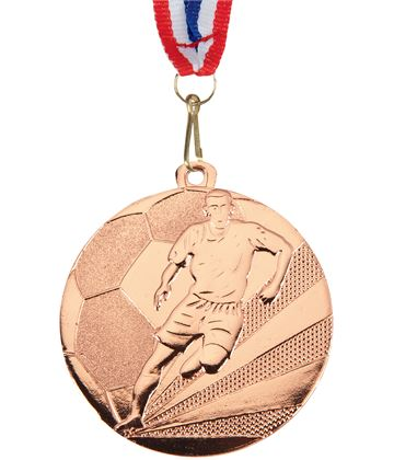 "Football Medal Bronze With Medal Ribbon 50mm (2"")"