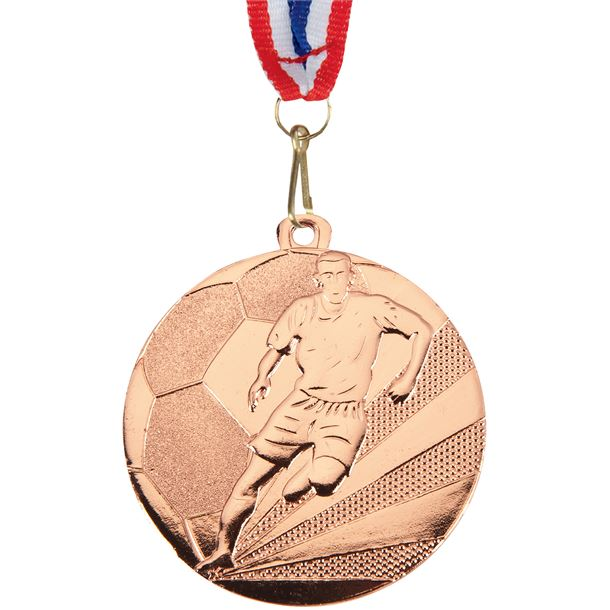 """Football Medal Bronze With Medal Ribbon 50mm (2"""")"""
