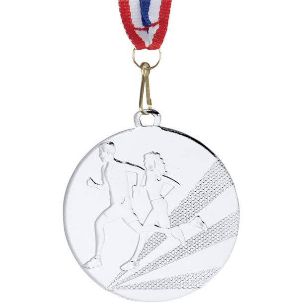 """Running Medal Silver With Medal Ribbon 50mm (2"""")"""