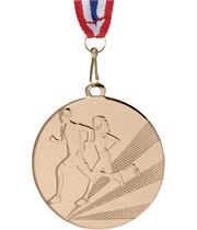 "Running Medal Bronze With Medal Ribbon 50mm (2"")"