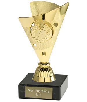 """Motorsport Trophy on a Black Marble Base Gold 15cm (6"""")"""