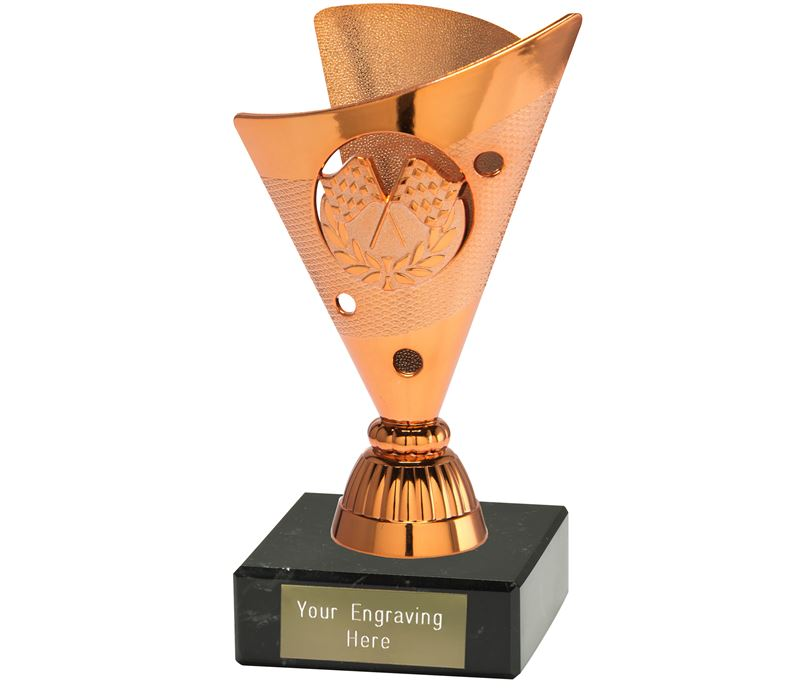 """Motorsport Trophy on a Black Marble Base Bronze 15cm (6"""")"""