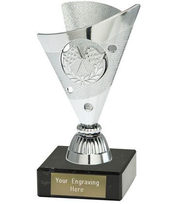 """Motorsport Trophy on a Black Marble Base Silver 15cm (6"""")"""