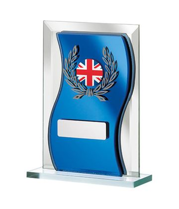"Union Jack Flag Blue Mirrored Glass Plaque Award 12.5cm (5"")"