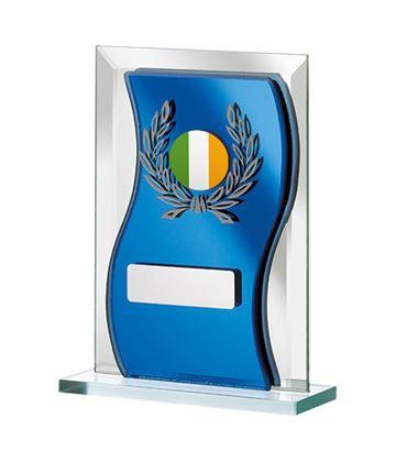 "Irish Flag Blue Mirrored Glass Plaque Award 12.5cm (5"")"