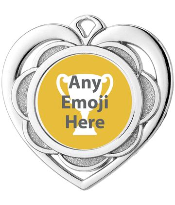 "Heart Emoji Medal Silver 50mm (2"")"