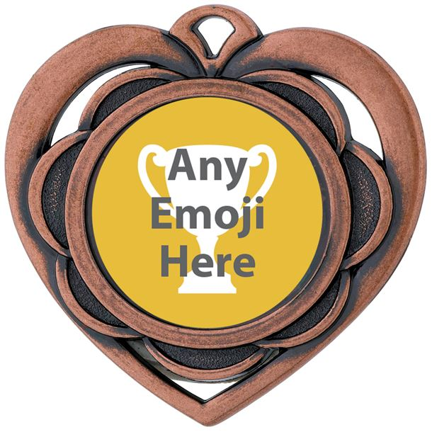 "Heart Emoji Medal Bronze 50mm (2"")"