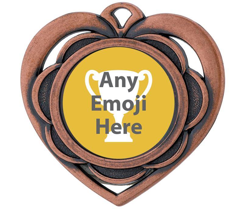 "Heart Emoji Medal Bronze 50mm (2"")"
