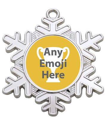 "Snowflake Emoji Medal Silver 50mm (2"")"