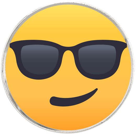 """Smiling Face With Sunglasses Emoji Pin Badge 2.5cm (1"""")"""