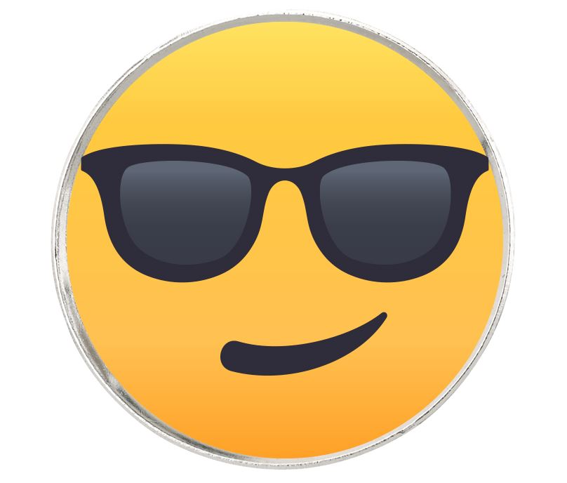 "Smiling Face With Sunglasses Emoji Pin Badge 2.5cm (1"")"