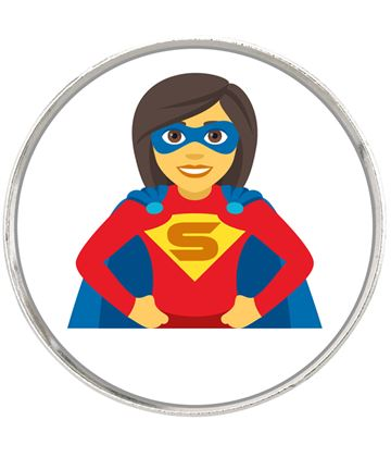 "Woman Superhero Emoji Pin Badge 2.5cm (1"")"