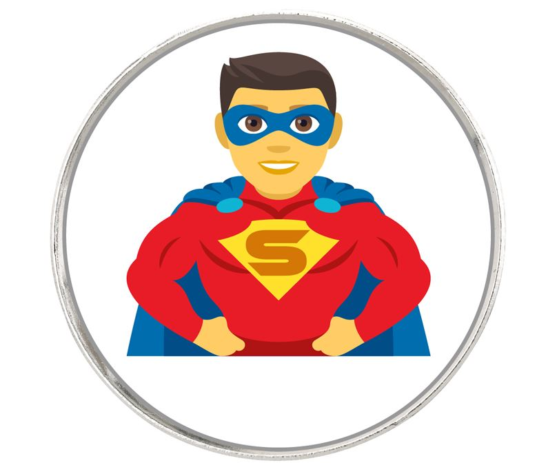 """Man Superhero Emoji Pin Badge 2.5cm (1"""")"""