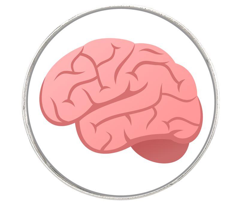 """Brain Emoji Pin Badge 2.5cm (1"""")"""