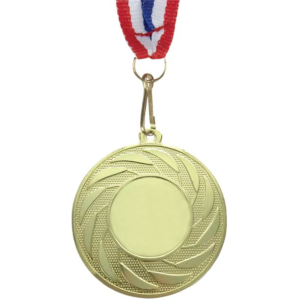 """Spiral Leaf Achievement Gold Medal with Medal Ribbon 50mm (2"""")"""