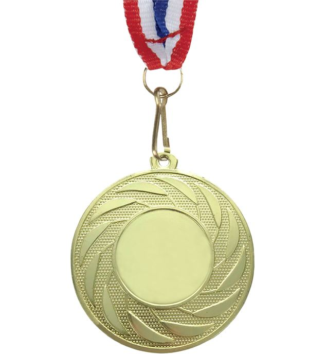 "Spiral Leaf Achievement Gold Medal With Medal Ribbon 50mm (2"")"